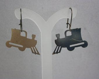 earrings, train earrings, hand made jewelry, handmade jewelry, vintage charm earrings, charm earrings, drop earrings, dangle earrings