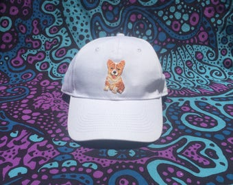 Embroidered Corgi Patch Baseball Cap - Hat - White