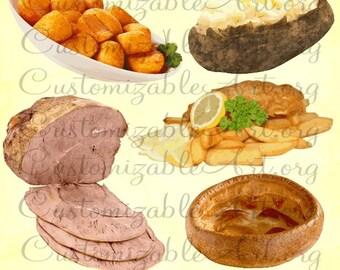 British Food Clipart Digital English Fish and Chips Clip Art Irish Food Meal Baked Roast Potato Roast Beef Sunday Roast Dinner Image Graphic