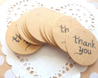 25 Brown Kraft Paper 'Thank You' Gift Tags Price Tag