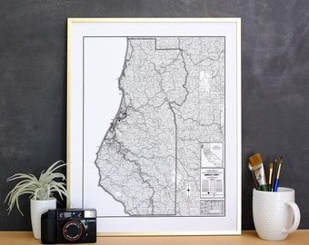 Humboldt County Map, Humboldt Map Print, Map on Canvas, Humboldt Print, Humboldt County Art, Humboldt County California Map Art