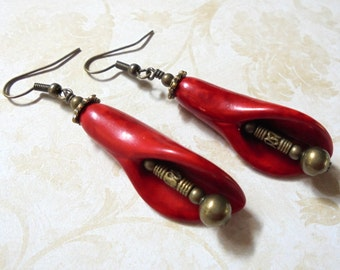 Red and Brass Flower Earrings (3134)