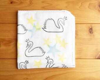 swan & star handkerchief | ladies hankie | reusable baby wipe | japanese cotton hand towel | kids nose wipe | hand printed textile