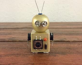 Glitchy Goldbot / Tiny Robot Sculpture / Found Object Art / Assemblage Art / Recycled Robot / Handmade