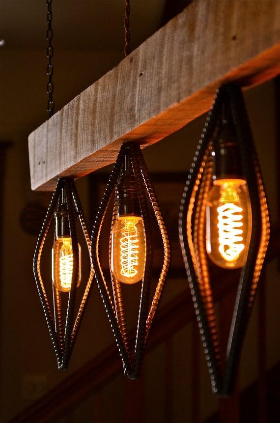 Perfect Industrial Barn Wood and Rebar light fixture IO25