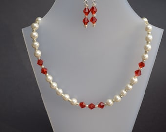 Bicone and Pearl Red with Earrings wedding prom
