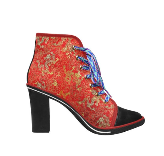 Dragon red and gold Ladies Chunky Heel