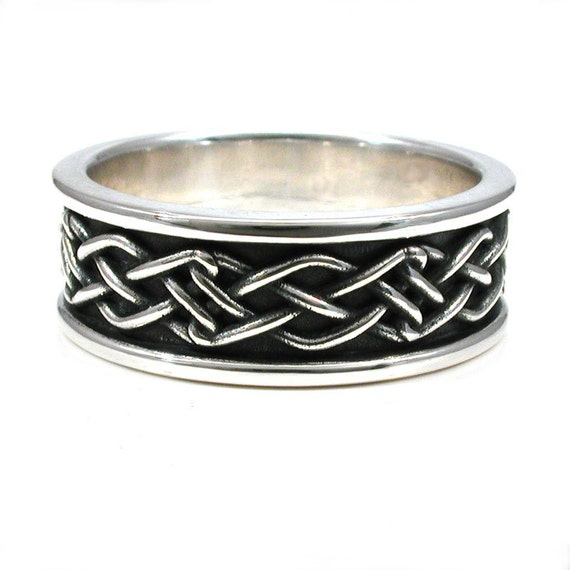 Mens Celtic Knot Ring - Rectangle Knot Sterling Silver Engagement