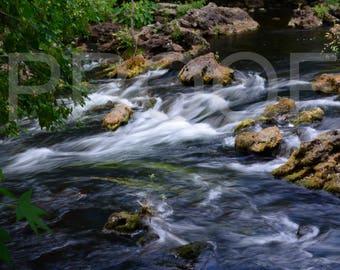 Photos by ConnieMariePhotography - Family room decor; river photo; stream photo; water photo; decor