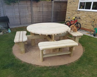 Round Garden Picnic Table / Bench Set - Thick Rustic Solid Heavy Duty Timber Wood Pub Restaurant Shop Cafe