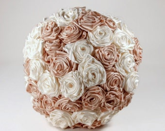 Ivory and Blush Satin Rose Bouquet