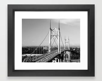 St. John's Bridge Portland Oregon Art Print Photography, architecture photo, black and white bridge, northwest cityscape, landscape, Gothic