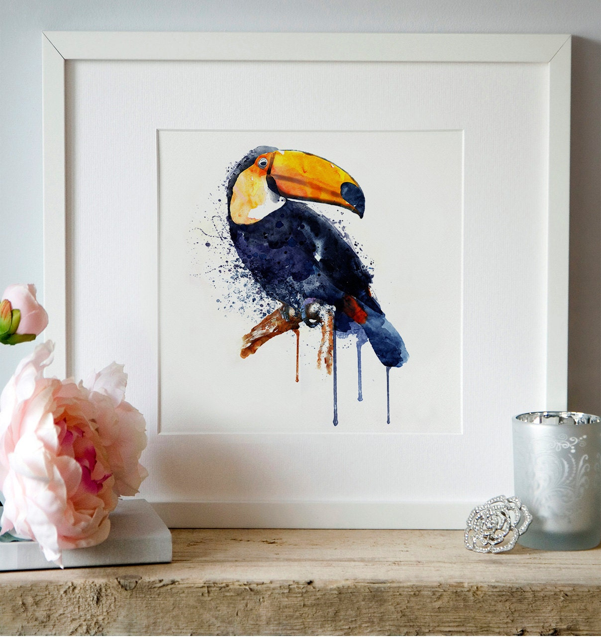 Toucan watercolor painting wildlife wall art printable art zoom amipublicfo Image collections
