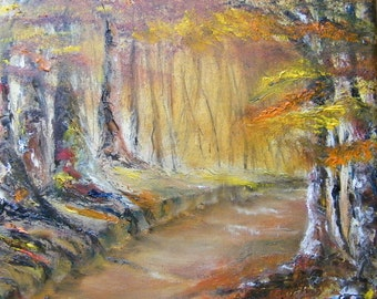 Trees, oil paintint of trees, textured tree painting, Irish woodland, Autumn woodland, Autumn trees, Woodland, Forest walk, Tree painting