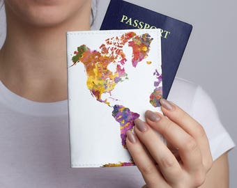 Colorful World Map Passport Holder Leather Passport Cover Leather Passport Holder Passport Case Woman Pasport Cover Travel Wallet CL6115