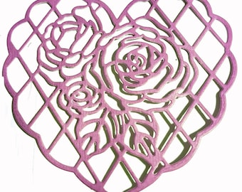 Cut out heart with roses scrapbooking