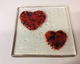 Pretty double heart fused glass coaster