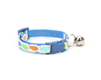Blue Fish Cat Collar Coastal Beach Spring or Summer Girl Boy Cat Collar with Breakaway Buckle and Bell - Keller