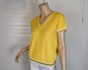 80s Terry Top in Lemon Yellow- 1980s Vintage Summer Pullover- Striped Trim- Small- Stretch Terry Cloth- Summer / Beach / Pool