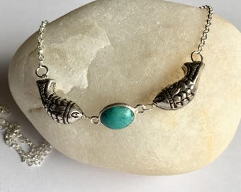 Silver fish and turquoise choker