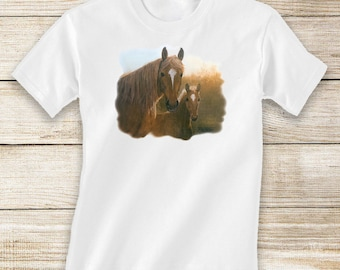 Chestnut Mare and Foal Short or Long Sleeve White T-Shirt - Horse and Equestrian Clothing for Toddlers