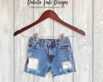 TODDLER Cut Off Shorts, 6X Shorts, Little Girls Shorts, Ripped Jean Shorts, Lace Patched Shorts, Denim Shorts, Boho Shorts, Bohemian Shorts