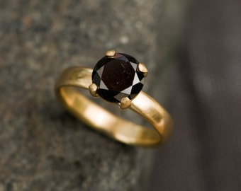 Black Diamond Ring - Black Diamond Gold Ring - 18K Gold Black Diamond Ring - Black Diamond Jewelry - Made to Order - FREE SHIPPING