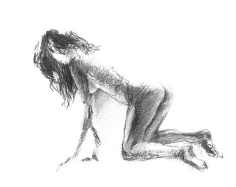 Naked Girl Pencil Sketch Art Print S05