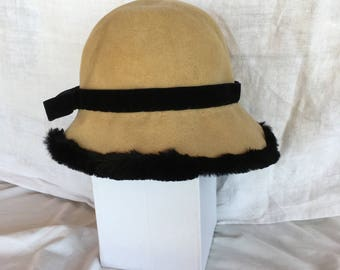 YSL vintage cashmere hat with trim