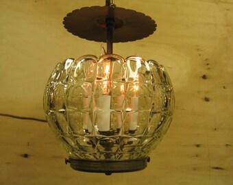 8228 Pressed Glass Hall Light  Brass/Glass  c. 1940 Rewired Complete