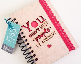 Mini bucket list Journal Inspirational love small notebook laser you don't met people accident handmade wood notepad libreta 5.1x3.6
