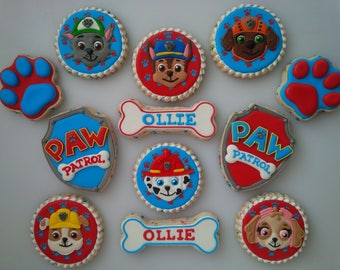 Paw Patrol Cookies in Blue & Red / One Dozen Decorated Birthday Cookies / Party Favors
