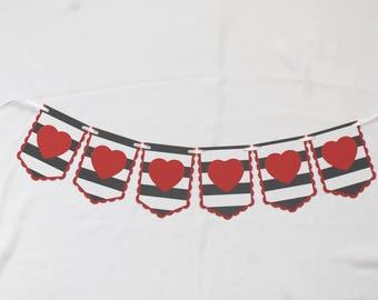 Black Stripe and Red Heart Garland - Party Banner - Wedding Garland - Bridal Shower Decor - Valentine Heart Banner - Valentine's Day Party