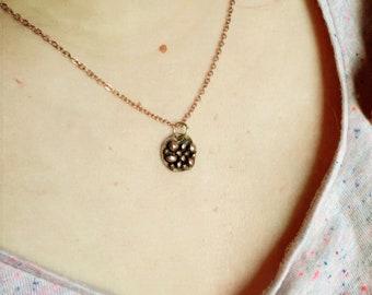 Bronze necklace, bronze pendant Pink
