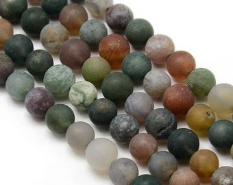 10 x 8mm Indian Agate Frosted (matte) round beads
