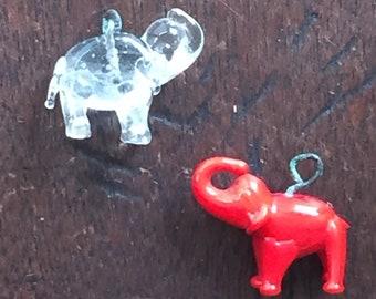 Vintage Pair Glass elephant Crackerjack Charms Prize