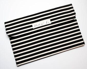 Diaper Clutch: Black & Cream Stripes - Black Diaper Clutch - Diaper Clutch Boy - Diaper Bag Organizer -Monochrome Nappy Clutch -Diaper Pouch