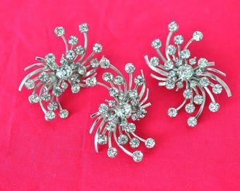 Rhinestone Earrings and Brooch Jewelry Set, Silver Tone, Bridal Earrings and Pin, Rhinestone Jewelry, Bridal Jewelry, Rhinestone Brooch DB9