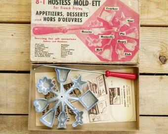 vintage appetizer dessert maker - MOLDerETT for french frying - hors d'oeuvres mold - Bonley - 1950s - retro hostess kitchen tool