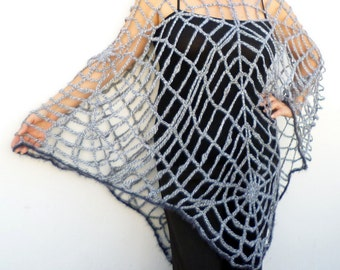 One Size Spider Web Poncho Clothing Women's Crochet Mesh Halloween Spiderweb