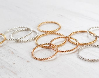 Glitter Stacking Ring, Gold Filled Twist Band Ring, Thin Rose Gold Band, Sterling Silver Stacker, any size 1-12
