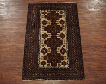 4X7 Afghan Tribal Hand-Knotted Wool Area Rug (3.8 x 6.2)