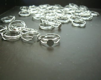 FINAL CUT SALE 100 pcs Silver Plated Adjustable Finger Ring Finding Nifree and Pbfree