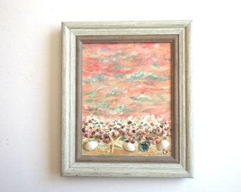 Beach painting with shells, starfish, beach stones, dimension. Peach and aqua ocean painting 8x10