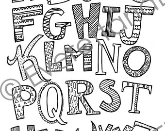 """Digital Download """"Uppercase Letters"""" Coloring Page"""