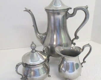 Vintage Tea set of pewter used good condition Marked Pewter Web 1136