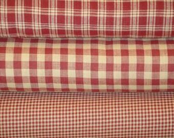 Homespun Fabric   Cotton Fabric   Sewing Fabric   Wine Fat Quarter Fabric Bundle   Woven Homespun Fabric   Rag Quilt Fabric   Craft Fabric