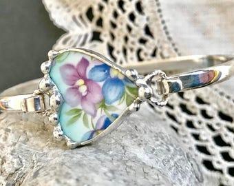 Bangle Bracelet, Broken China Jewelry, Broken China Bracelet, Charm Bracelet, Wire Bangle, Violet and Blue Floral China, Sterling Silver,