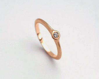 18k Rose Gold Diamond Engagement Ring, Simple Rose Gold Ring, Delicate Ring, 14k Gold Diamond Ring, Stacking Solitaire Ring