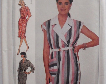 Simplicity 7378 - Side Buttoned Dress Sewing Pattern - Size 12, Bust 34, Uncut